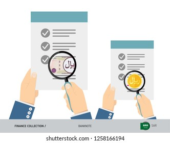 Search 100 Saudi Arabia Riyal Banknote and coin. Flat style vector illustration. Favorable conditions concept.