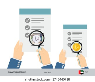 Search 1000 United Arab Emirates Dirham banknote and coin. Flat style vector illustration. Favorable conditions concept.