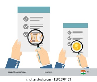 Search 200 Indian Rupee Banknote and coin. Flat style vector illustration. Favorable conditions concept.