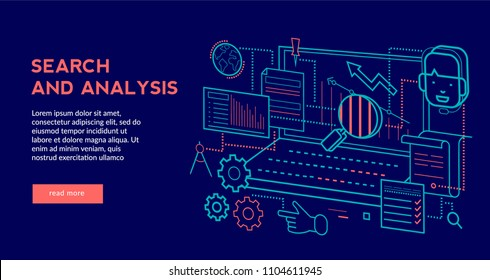 Search and Analysis Concept for web page, banner, presentation. Vector illustration