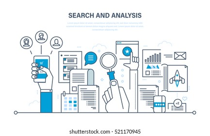 Search and analysis of information, communication and services, marketing and research, information, statistics and analytics. Illustration thin line design of vector doodles, infographics elements.