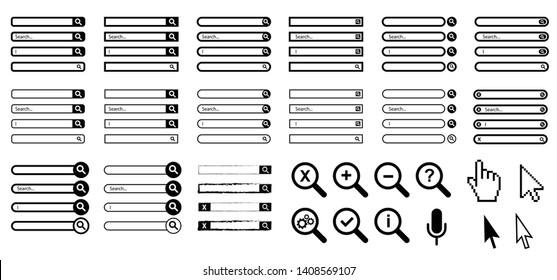 Search bar box boxes input field button dock ui line template pattern Vector icon icons sign signs symbol fun funny mouse cursor click Address navigation bar menu loading bars Web browser window tags