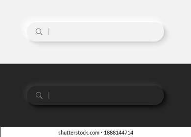Search bar. Neumorphism design. 3d rendering. Web Search button concept. Search window with shadow. Vector illustration