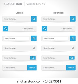 Search bar template   vector eps   white color with blue   Classic and Round   simple design