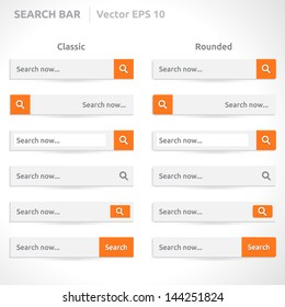 Search bar template   vector eps   white color with orange   Classic and Round   simple design
