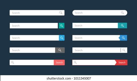 Search bar vector element design templates set