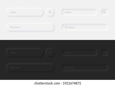 Search Bars In Different Variations UI UX Neumorphic Design Elements Set On Abstract Background. Aesthetic Neumorphism Style User Interface Components In Light And Dark Version
