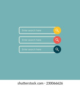 Search bars. Flat web design elements. Templates for website