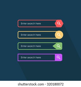 Search bars. Flat web design elements. Templates for interface