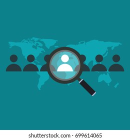 Search The Best Person From Group Of Human Icon For The Job Vacancy