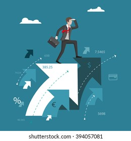 Search for business solutions. Businessman standing on the abstract arrows and looks into the distance. Business concept