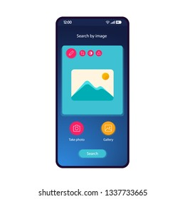 Search by image app smartphone interface vector template. Mobile app page blue gradient design layout. Picture editor, post maker screen. Flat UI for application. Take photo, search. Phone display