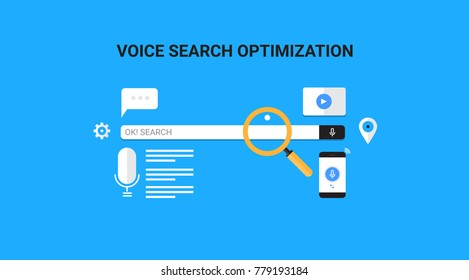 Search by Voice, Voice search optimization flat vector banner illustration with icons