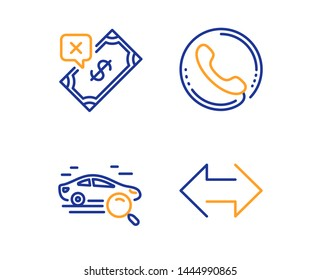 Search car, Call center and Rejected payment icons simple set. Sync sign. Find transport, Phone support, Bank transfer. Synchronize. Linear search car icon. Colorful design set. Vector