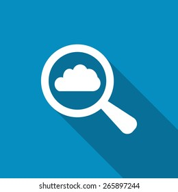 Search cloud computing icon or button big data storage and find information in database