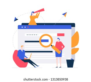 Search concept - flat design style colorful illustration on white background. A composition with male, female colleagues standing around web page with magnifying glass, spyglass, working with laptop