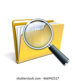 Search concept with Magnifying glass over the yellow folder isolated on white background. Vector illustration