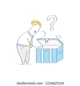 Search, discover, exploration, cute outline cartoon character opening and looking for something in secret treasure chest, packaging box. Outline vector illustration on white.