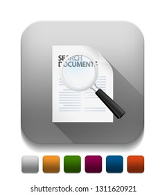 search document sign With long shadow over app button