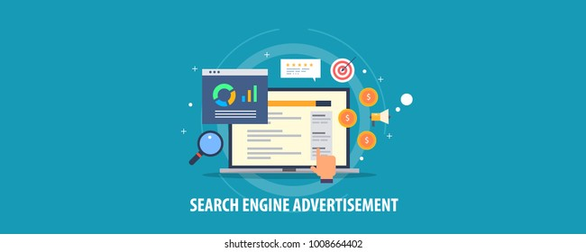 Search engine advertisement, pay per click concept, Search marketing flat design vector concept