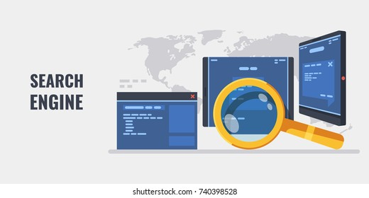 Search engine concept with gold magnifying glass website page tablet smartphone on world map background, banner of research information, mobile devices applications 3d flat vector illustration