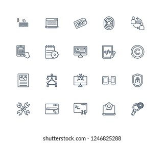 Search engine, Development, Command, Http, Hardware, Seo Consulting, Script, Bug report, Content, Compiler, seo Tags outline vector icons from 20 set