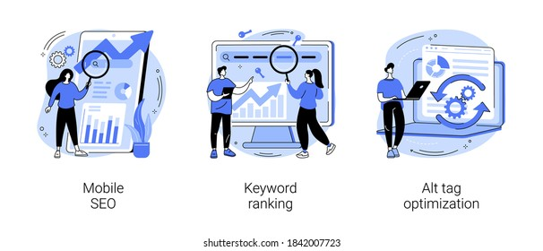 Search engine marketing abstract concept vector illustration set. Mobile SEO agency, keyword ranking, alt tag optimization, website ranking, search optimization, page navigation abstract metaphor.