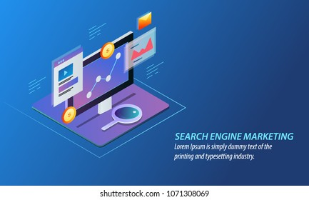 Search engine marketing, paid marketing, advertising, media vector illustration isolated on blue background