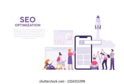 search engine optimisation concept, SEO optimisation concept, team work men and women work for optimisation website project together