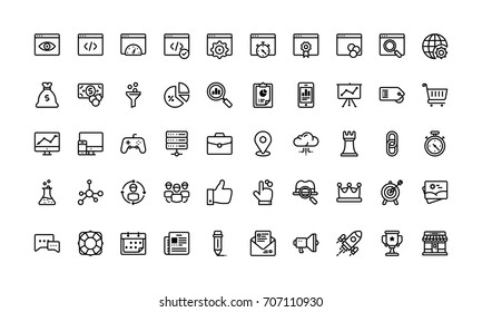 Search engine optimisation icon set, outline style