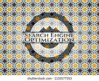 Search Engine Optimization arabic emblem background. Arabesque decoration.