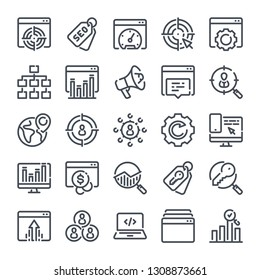 Search Engine Optimization bold line icon set. Website statistics linear icons. Target and traffic management outline vector sign collection.