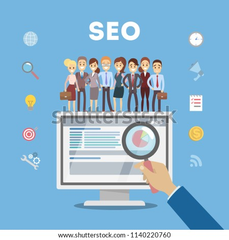 Are Search Engines Making Students >> Search Engine Optimization Concept Doing Market Stok Vektor