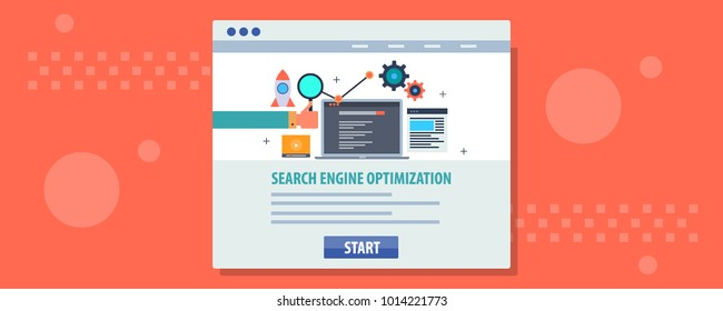 Search engine optimization concept on browser window, SEO for website flat vector