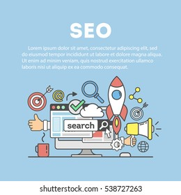 Search engine optimization concept. Social network and media communication.
