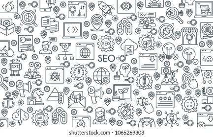 Search Engine Optimization and Development banner. Modern icons on theme business, analysis, internet, organization, startup and web. Thin line design icons collection. Vector illustration
