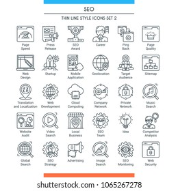 Search Engine Optimization and Development icons. Modern icons on theme business, analysis, internet, organization, startup and web. Thin line design icons collection. Vector illustration