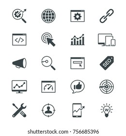 Search engine optimization flat icons