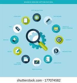 Search engine optimization process. Flat design concept.