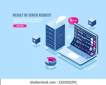 Search engine optimization seo isometric icon, page rank, search result ranking, laptop with place of pages on screen vector illustration