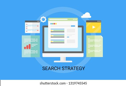 Search engine optimization, SEO search Strategy, vector illustration isolated on blue background
