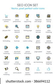 Search engine optimization theme line icon set. Pixel perfect fully editable vector icon suitable for websites, info graphics and print media.