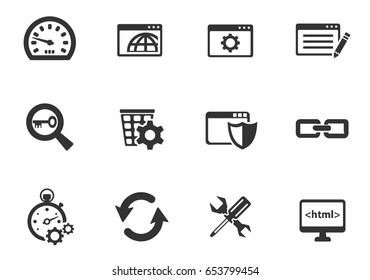 Search Engine Optimization web icons. set of simple symbols silhouettes