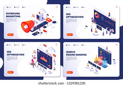 Search engine rank, seo optimization vector isometric landing pages. Seo marketing and analytics, online ranking result