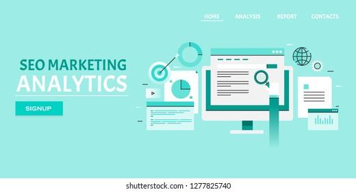 Search engine result page, SEO analytics, Digital marketing data analysis flat design banner