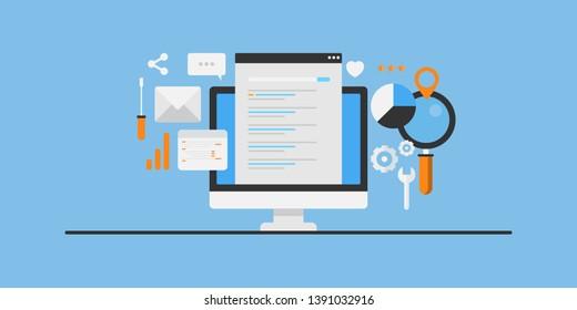 Search engine result, SEO ranking development, SEO strategy for organic traffic, flat design vector conceptual illustration