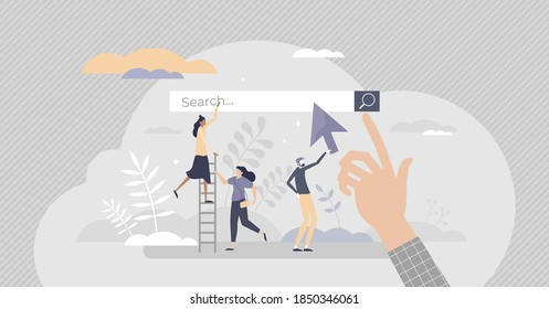 Search engine as web browser tool to find information tiny person concept. Looking up for data in online website contents vector illustration. Internet site service for info research and visualization