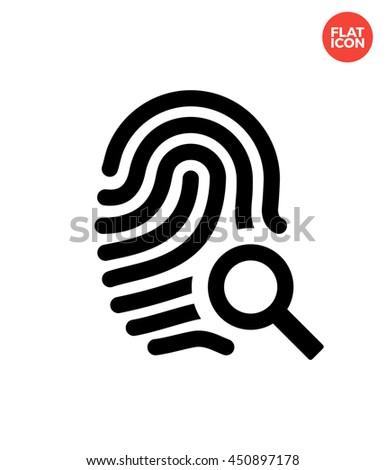 Search Fingerprint Icon Flat Style Fingerprint Stock Vector Royalty