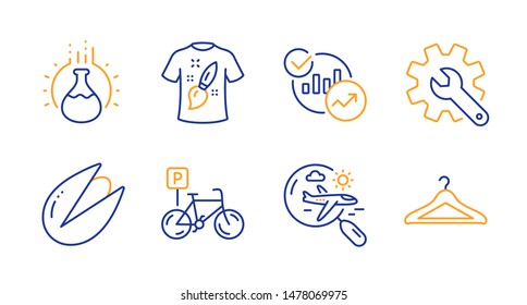 Search flight, Chemistry experiment and Customisation line icons set. Bicycle parking, Statistics and Pistachio nut signs. T-shirt design, Cloakroom symbols. Airplane trip, Laboratory flask. Vector