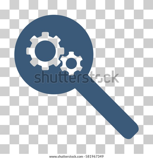 Search Gears Tool vector pictogram. Illustration style is a flat iconic blue symbol on a transparent background.